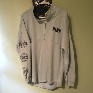 Pink half button sweatshirt